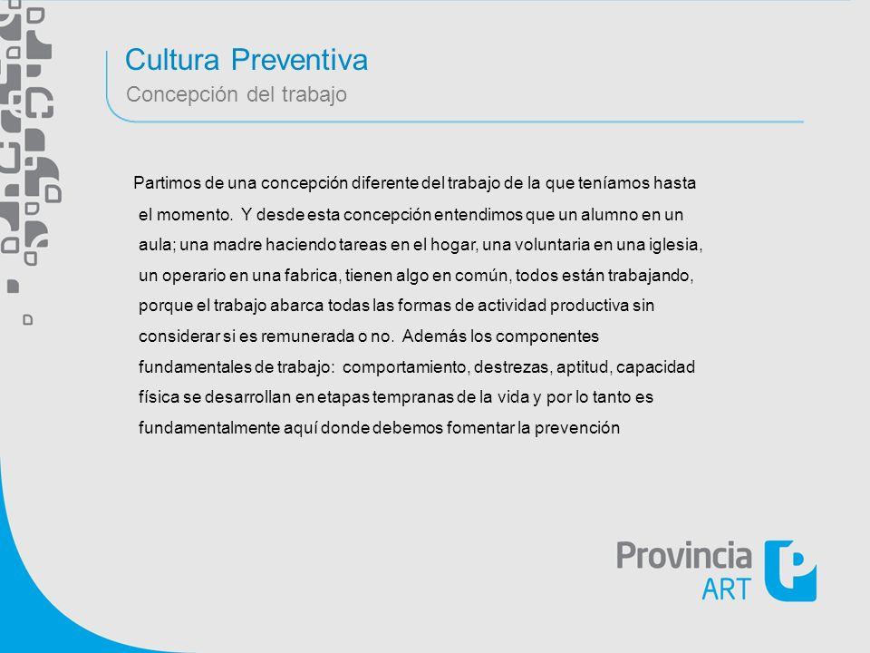 Cultura Preventiva Concepción del trabajo Partimos de una concepción diferente del trabajo de la que teníamos hasta el momento. Y desde esta concepció