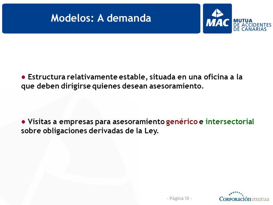 - Página 10 - Modelos: A demanda Estructura relativamente estable, situada en una oficina a la que deben dirigirse quienes desean asesoramiento. Visit