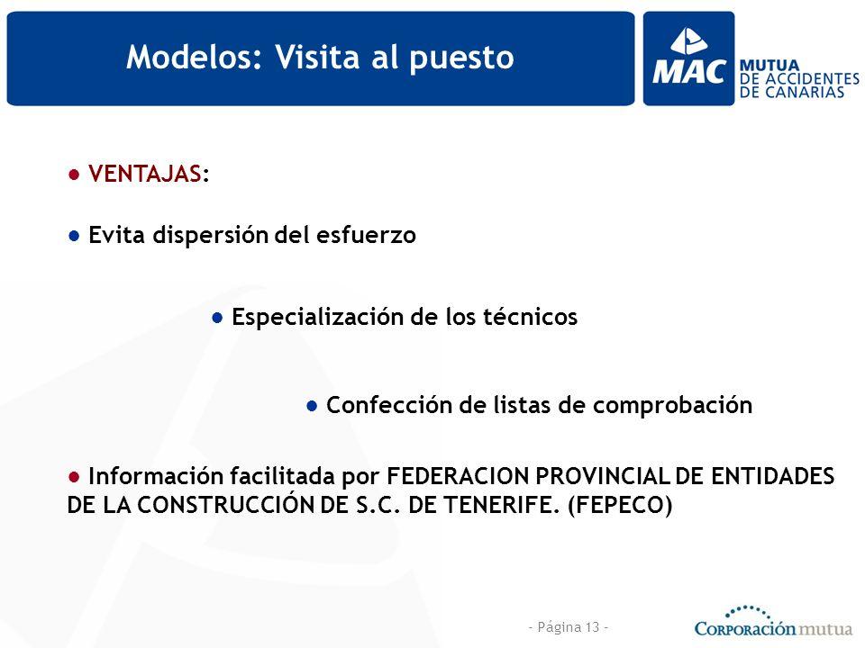 - Página 13 - Modelos: Visita al puesto VENTAJAS: Evita dispersión del esfuerzo Especialización de los técnicos Confección de listas de comprobación I