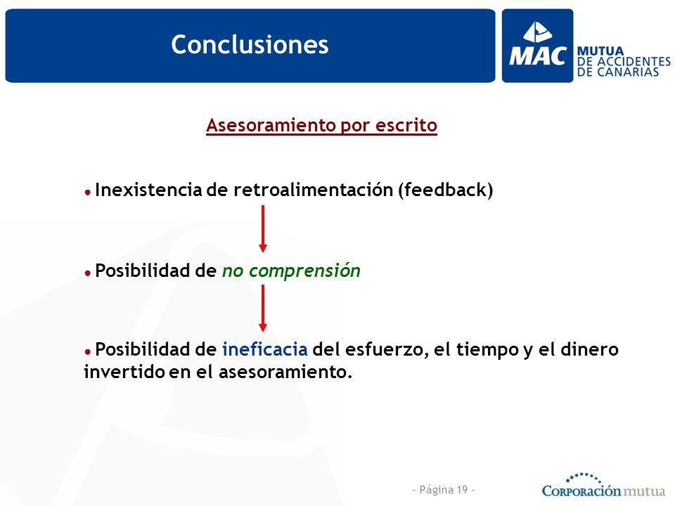 - Página 19 - Conclusiones Asesoramiento por escrito Inexistencia de retroalimentación (feedback) Posibilidad de no comprensión Posibilidad de ineficacia del esfuerzo, el tiempo y el dinero invertido en el asesoramiento.