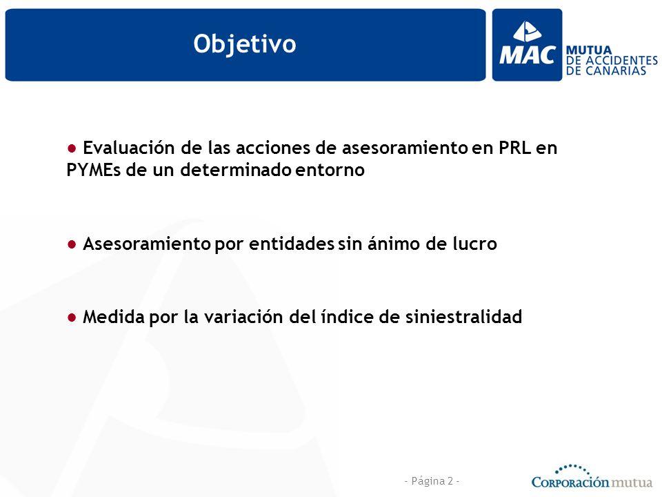 - Página 2 - Objetivo Evaluación de las acciones de asesoramiento en PRL en PYMEs de un determinado entorno Asesoramiento por entidades sin ánimo de lucro Medida por la variación del índice de siniestralidad