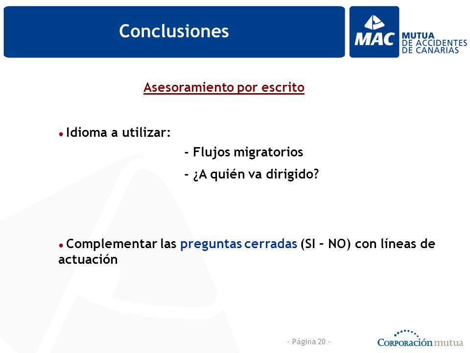 - Página 20 - Conclusiones Asesoramiento por escrito Idioma a utilizar: Complementar las preguntas cerradas (SI – NO) con líneas de actuación - Flujos