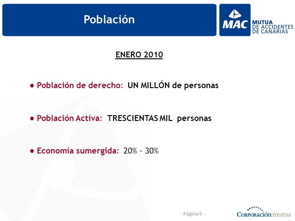 - Página 5 - Población ENERO 2010 Población de derecho: UN MILLÓN de personas Población Activa: TRESCIENTAS MIL personas Economía sumergida: 20% - 30%