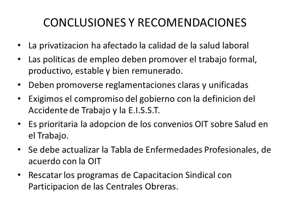 CONCLUSIONES Y RECOMENDACIONES La privatizacion ha afectado la calidad de la salud laboral Las politicas de empleo deben promover el trabajo formal, productivo, estable y bien remunerado.