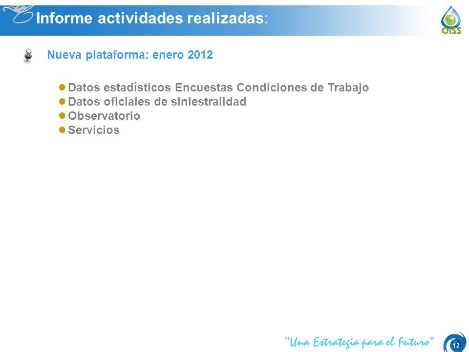 12 Datos estadísticos Encuestas Condiciones de Trabajo Datos oficiales de siniestralidad Observatorio Servicios Informe actividades realizadas: Nueva plataforma: enero 2012