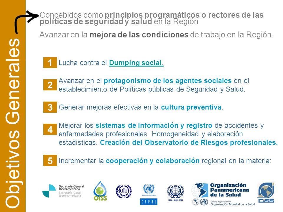 Concebidos como principios programáticos o rectores de las políticas de seguridad y salud en la Región Avanzar en la mejora de las condiciones de trabajo en la Región.