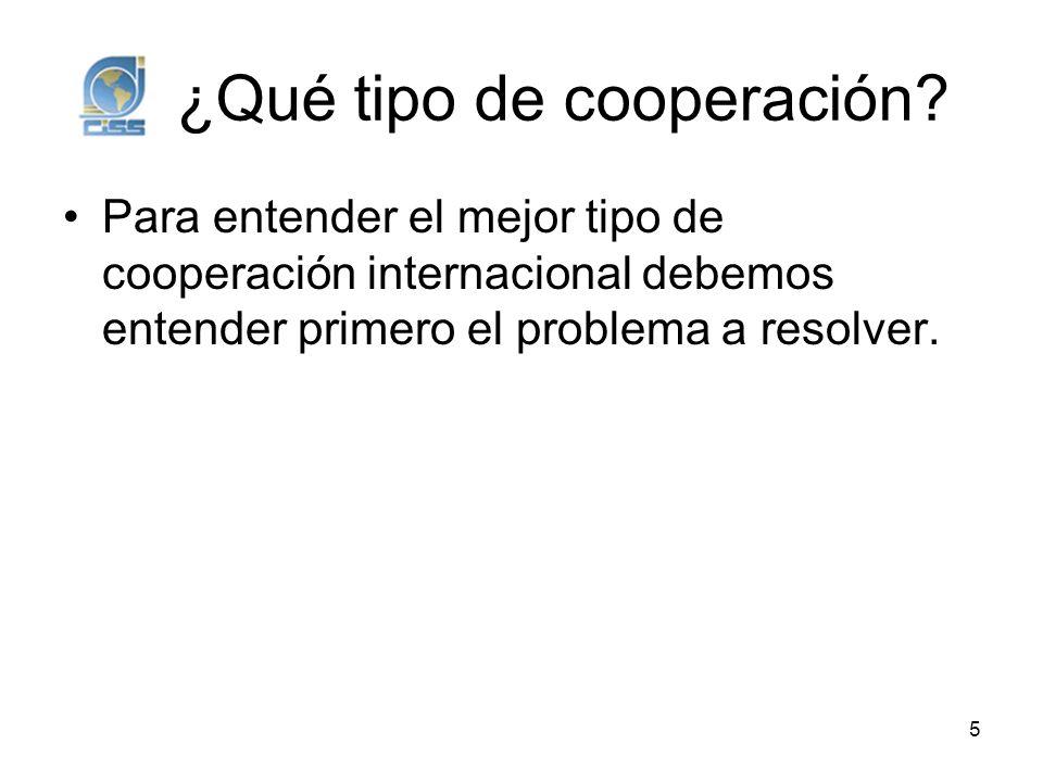 ¿Qué tipo de cooperación? Para entender el mejor tipo de cooperación internacional debemos entender primero el problema a resolver. 5