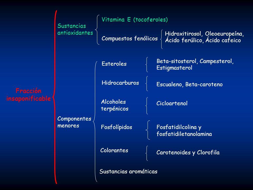 Ácido esteárico (C18:0): Está presente en el aceite de oliva, pero no es muy frecuente en el consumo habitual.