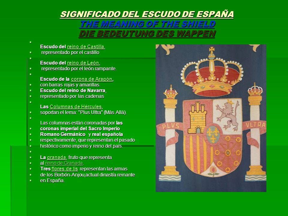 SIGNIFICADO DEL ESCUDO DE ESPAÑA THE MEANING OF THE SHIELD DIE BEDEUTUNG DES WAPPEN Escudo del reino de Castilla, Escudo del reino de Castilla,reino d