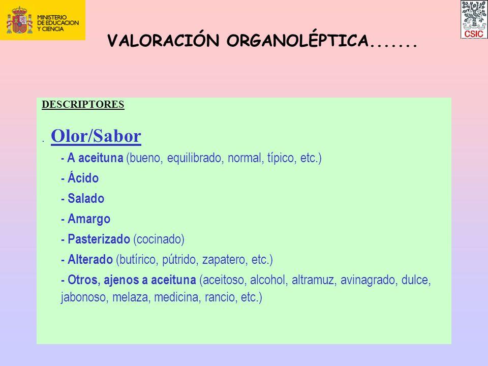 DESCRIPTORES. Olor/Sabor - A aceituna (bueno, equilibrado, normal, típico, etc.) - Ácido - Salado - Amargo - Pasterizado (cocinado) - Alterado (butíri