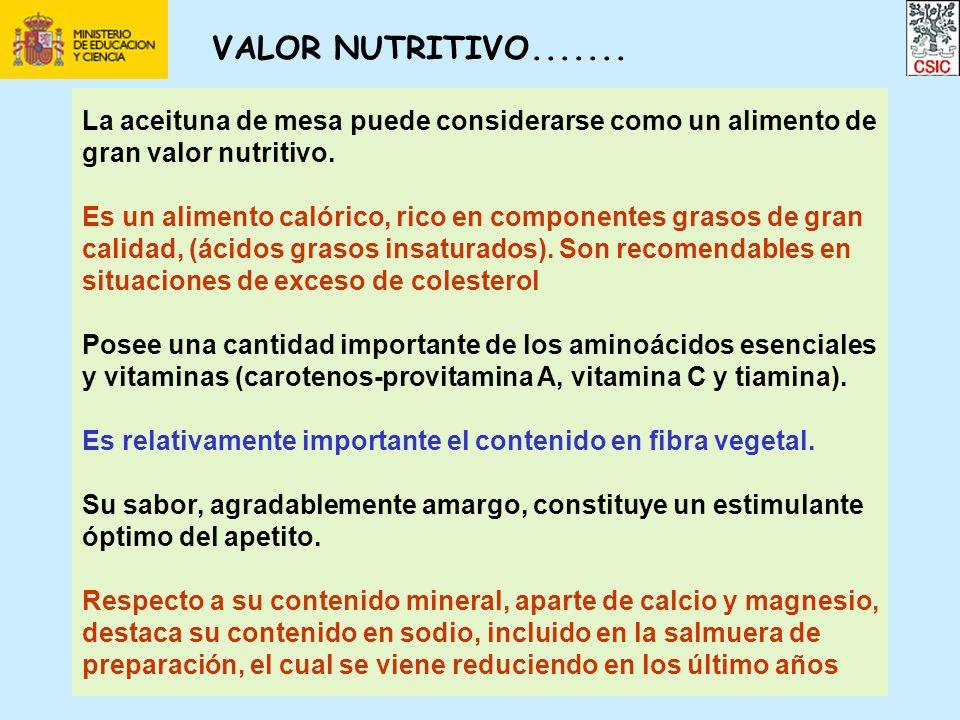 VALOR NUTRITIVO....... La aceituna de mesa puede considerarse como un alimento de gran valor nutritivo. Es un alimento calórico, rico en componentes g
