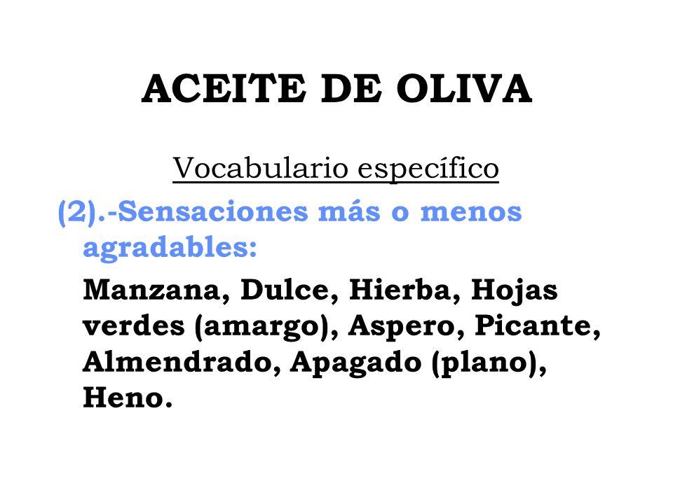 ACEITE DE OLIVA Vocabulario específico (2).-Sensaciones más o menos agradables: Manzana, Dulce, Hierba, Hojas verdes (amargo), Aspero, Picante, Almend