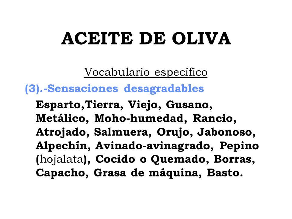 ACEITE DE OLIVA Vocabulario específico (3).-Sensaciones desagradables Esparto,Tierra, Viejo, Gusano, Metálico, Moho-humedad, Rancio, Atrojado, Salmuer