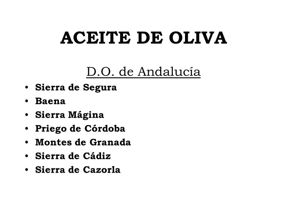 ACEITE DE OLIVA D.O. de Andalucía Sierra de Segura Baena Sierra Mágina Priego de Córdoba Montes de Granada Sierra de Cádiz Sierra de Cazorla