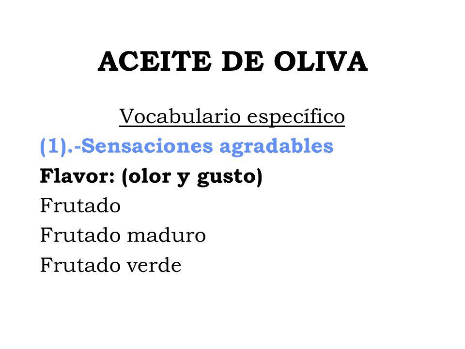 ACEITE DE OLIVA Vocabulario específico (1).-Sensaciones agradables Flavor: (olor y gusto) Frutado Frutado maduro Frutado verde