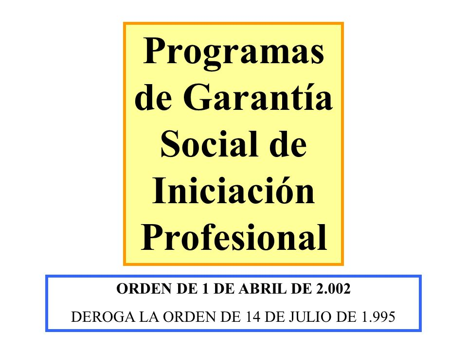 Programas de Garantía Social de Iniciación Profesional ORDEN DE 1 DE ABRIL DE 2.002 DEROGA LA ORDEN DE 14 DE JULIO DE 1.995