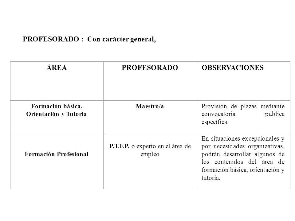 PROFESORADO : Con carácter general, ÁREAPROFESORADOOBSERVACIONES Formación básica, Orientación y Tutoría Maestro/aProvisión de plazas mediante convoca