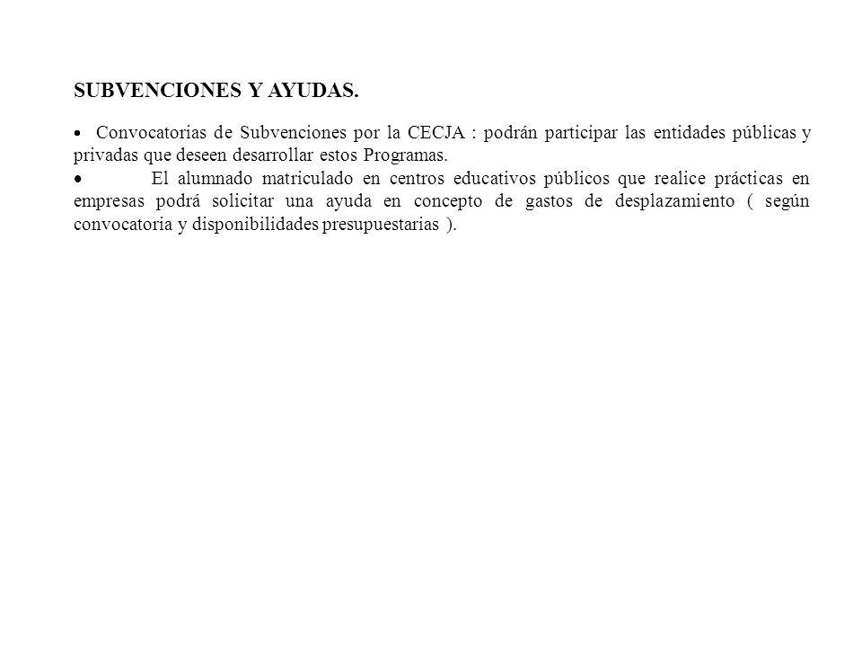 SUBVENCIONES Y AYUDAS. Convocatorias de Subvenciones por la CECJA : podrán participar las entidades públicas y privadas que deseen desarrollar estos P