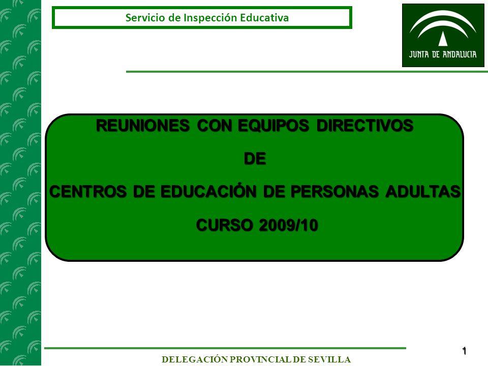 2 Servicio de Inspección Educativa DELEGACIÓN PROVINCIAL DE SEVILLA ESQUEMA DE LA SESIÓN DE TRABAJO 1.- REVISIÓN DE LAS INSTRUCCIONES DE ORGANIZACIÓN Y FUNCIONAMIENTO PARA EL CURSO ESCOLAR 2009/10 - Instrucciones de 17 de febrero de 2009 sobre planificación y escolarización para el curso académico 2009/10 en los centros docentes públicos y privados concertados.