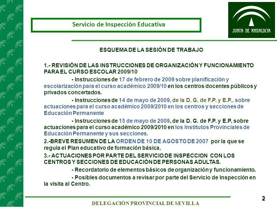 23 SERVICIO DE INSPECCIÓN DE SEVILLA INSTRUCCIONES DE LA DIRECCIÓN GENERAL DE F.