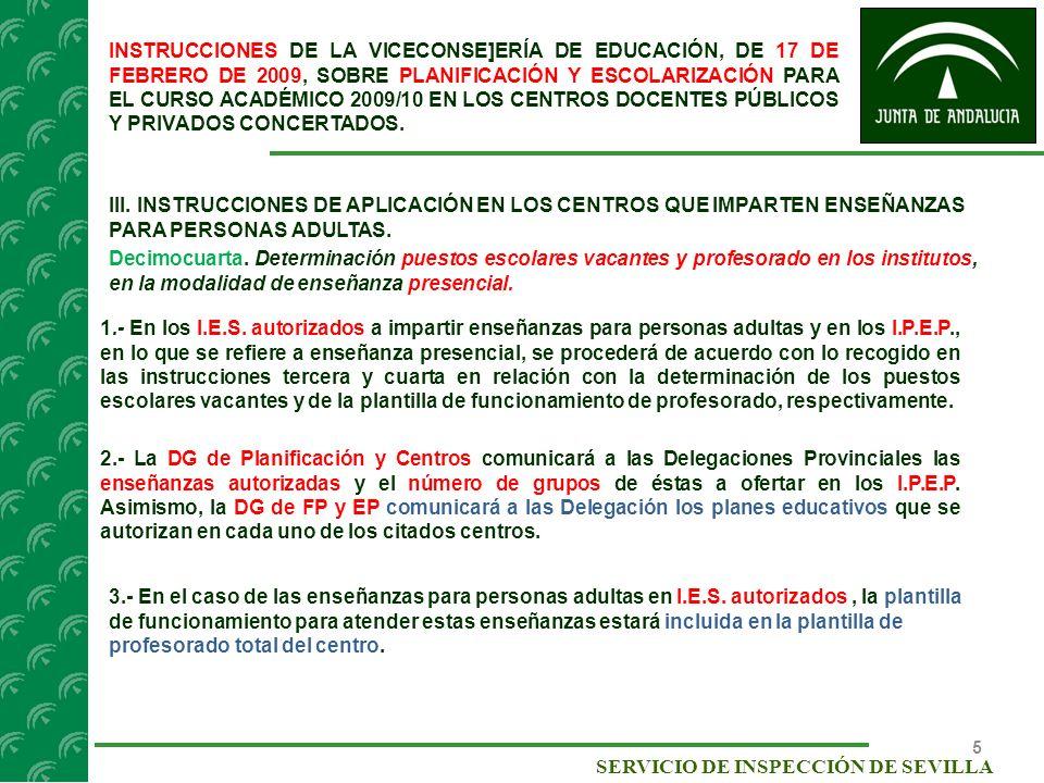 16 SERVICIO DE INSPECCIÓN DE SEVILLA Instrucciones de la Dirección General de Formación Profesional y Educación Permanente, de 15 de mayo de 2009, sobre actuaciones para el curso académico 2009/2010 en los Institutos Provinciales de Educación Permanente y sus secciones.