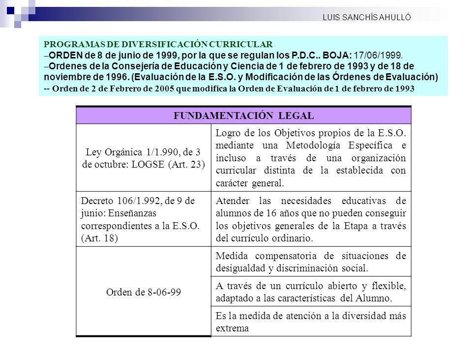 PROGRAMAS DE DIVERSIFICACIÓN CURRICULAR ORDEN de 8 de junio de 1999, por la que se regulan los P.D.C.. BOJA: 17/06/1999. Ordenes de la Consejería de E