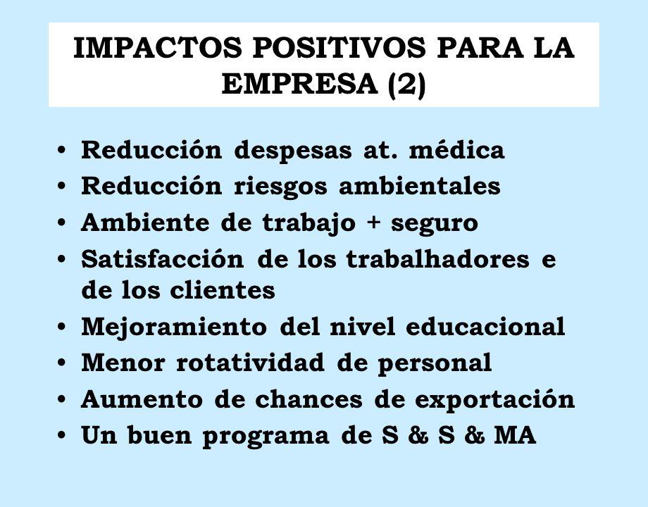 IMPACTOS POSITIVOS PARA LA EMPRESA (2) Reducción despesas at. médica Reducción riesgos ambientales Ambiente de trabajo + seguro Satisfacción de los tr