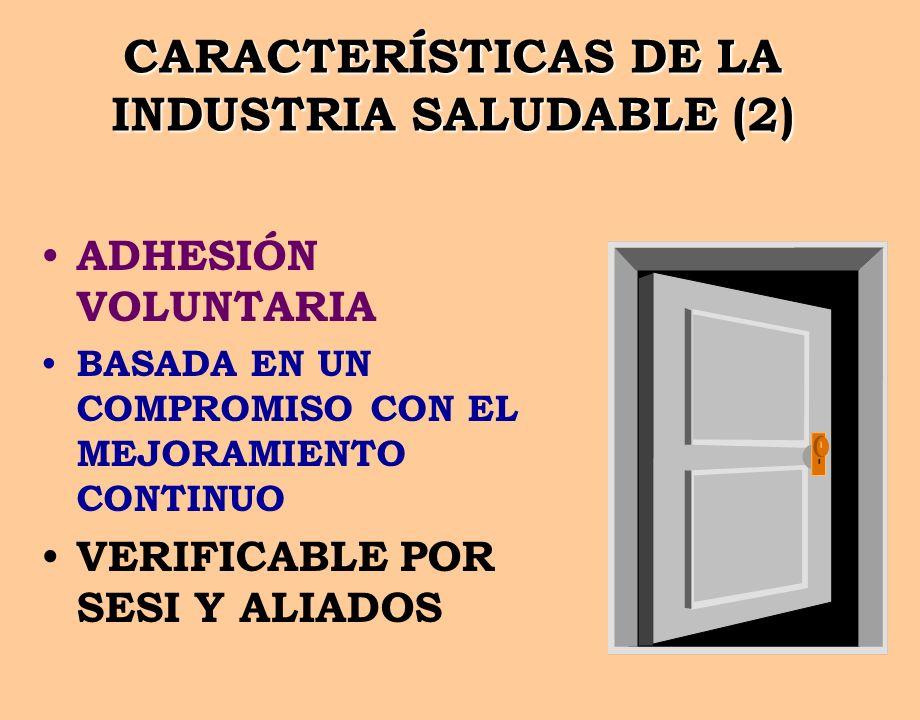 CARACTERÍSTICAS DE LA INDUSTRIA SALUDABLE (2) ADHESIÓN VOLUNTARIA BASADA EN UN COMPROMISO CON EL MEJORAMIENTO CONTINUO VERIFICABLE POR SESI Y ALIADOS