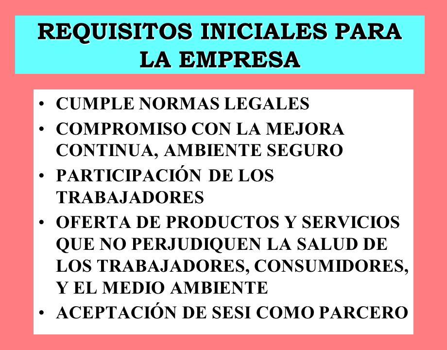 REQUISITOS INICIALES PARA LA EMPRESA CUMPLE NORMAS LEGALES COMPROMISO CON LA MEJORA CONTINUA, AMBIENTE SEGURO PARTICIPACIÓN DE LOS TRABAJADORES OFERTA