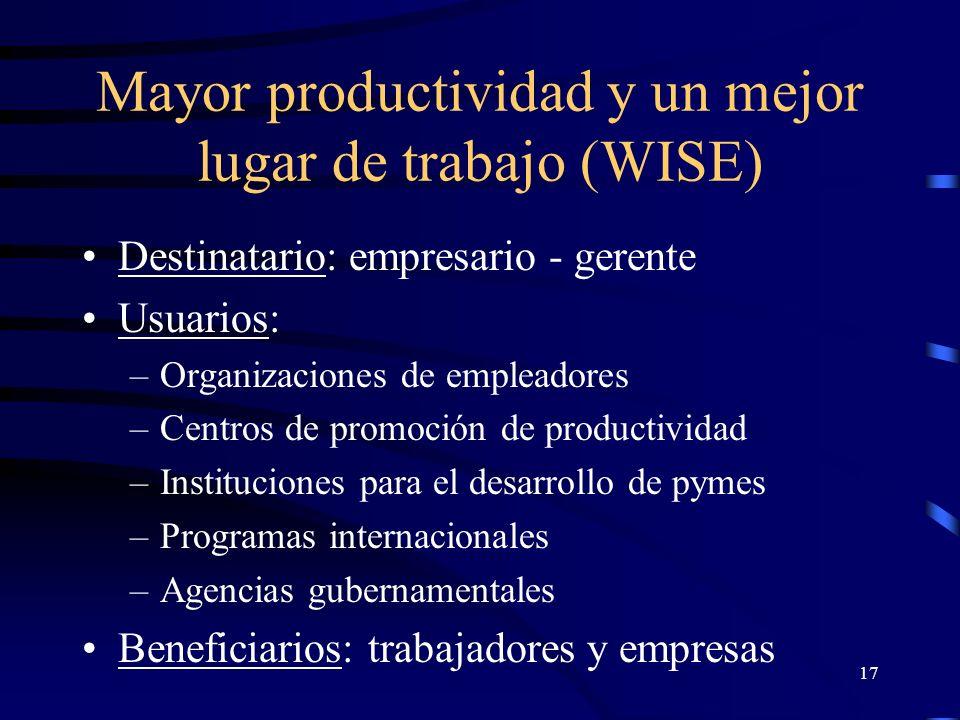 16 Mayor productividad y un mejor lugar de trabajo (WISE) No substituye a leyes o reglamentos No substituye a negociaciones colectivas Es un camino complementario Alienta acciones voluntarias Promueve mejoras concretas en cymat, con impacto en productividad