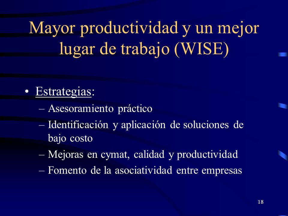 17 Mayor productividad y un mejor lugar de trabajo (WISE) Destinatario: empresario - gerente Usuarios: –Organizaciones de empleadores –Centros de promoción de productividad –Instituciones para el desarrollo de pymes –Programas internacionales –Agencias gubernamentales Beneficiarios: trabajadores y empresas