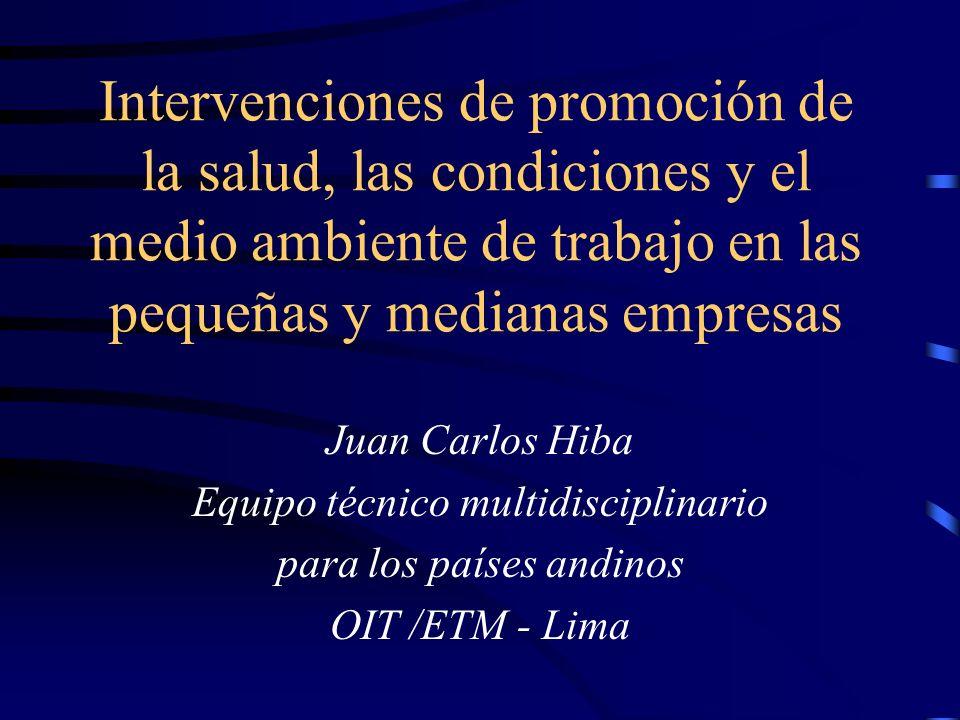 2 Reunión de planeación estratégica de la Organización Panamericana de la Salud Intervenciones de OIT de promoción de la salud, las condiciones y el medio ambiente de trabajo en las pequeñas y medianas empresas