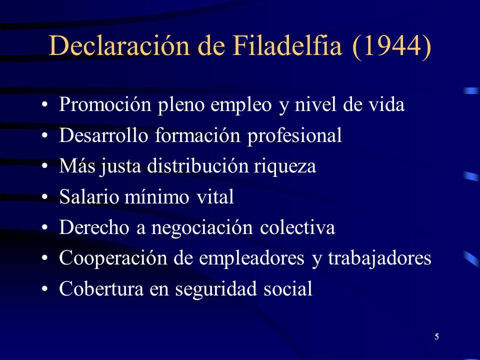 4 Preámbulo de la Constitución de la OIT (1919) La paz universal y permanente sólo puede basarse en la justicia social Existen condiciones de trabajo que entrañan injusticias, miseria y privaciones Resulta urgente mejorar dichas condiciones
