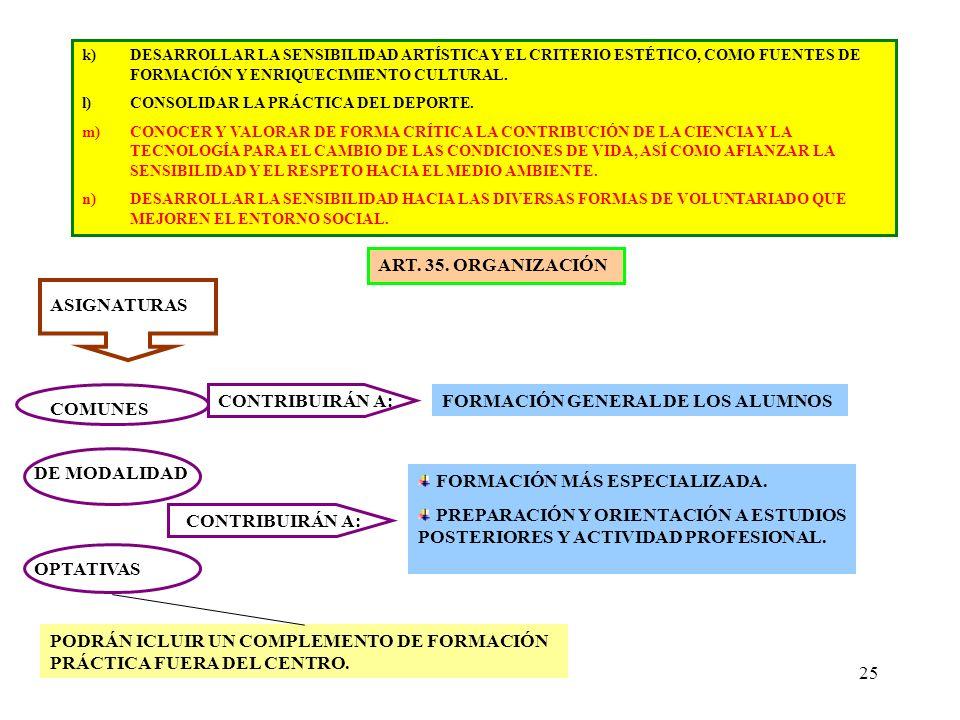 25 k)DESARROLLAR LA SENSIBILIDAD ARTÍSTICA Y EL CRITERIO ESTÉTICO, COMO FUENTES DE FORMACIÓN Y ENRIQUECIMIENTO CULTURAL. l)CONSOLIDAR LA PRÁCTICA DEL