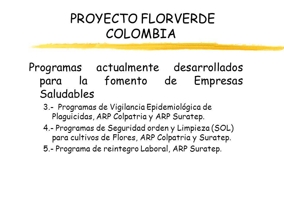 PROYECTO FLORVERDE COLOMBIA Programas actualmente desarrollados para la fomento de Empresas Saludables 3.- Programas de Vigilancia Epidemiológica de P