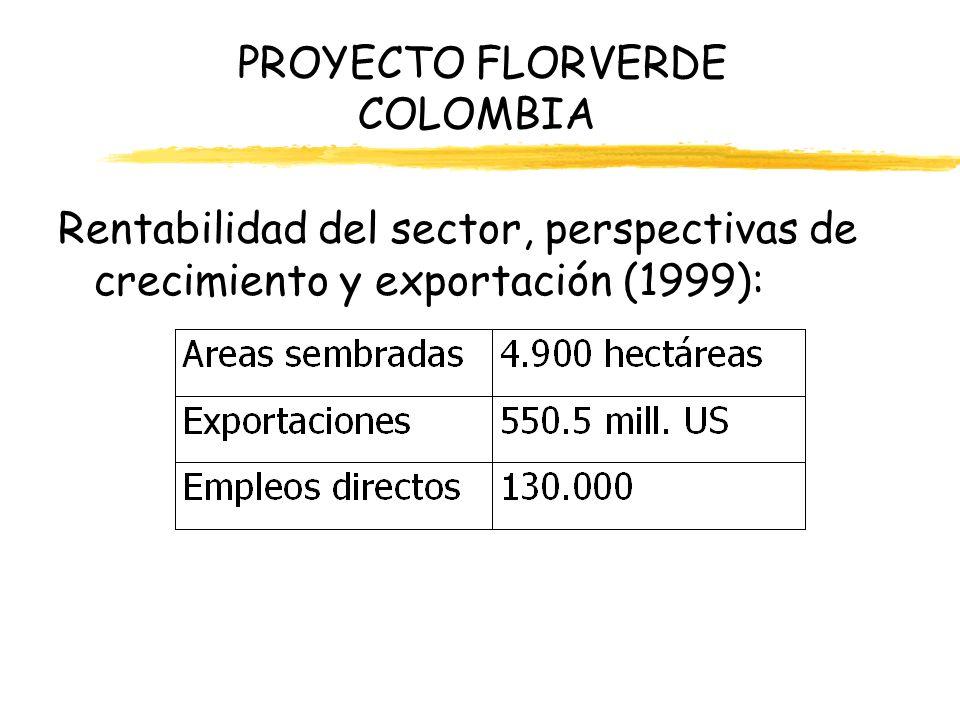 PROYECTO FLORVERDE COLOMBIA Rentabilidad del sector, perspectivas de crecimiento y exportación (1999):