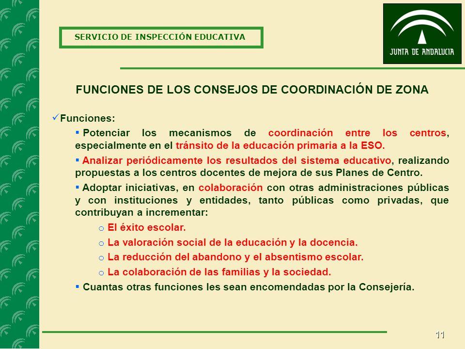 11 SERVICIO DE INSPECCIÓN EDUCATIVA FUNCIONES DE LOS CONSEJOS DE COORDINACIÓN DE ZONA Funciones: Potenciar los mecanismos de coordinación entre los centros, especialmente en el tránsito de la educación primaria a la ESO.