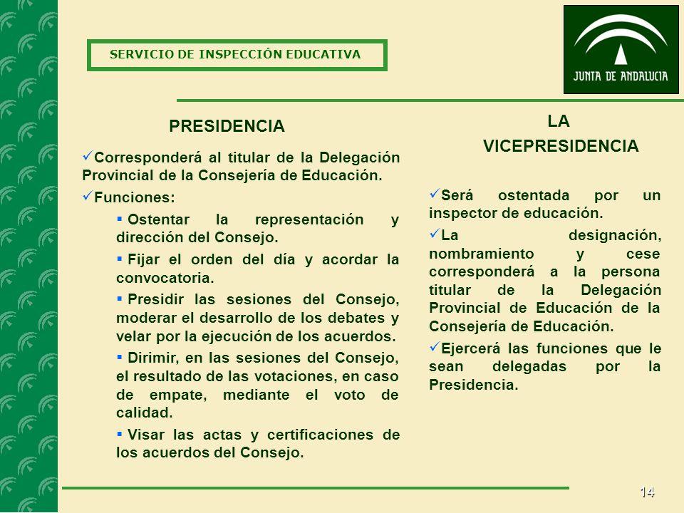 14 SERVICIO DE INSPECCIÓN EDUCATIVA PRESIDENCIA Corresponderá al titular de la Delegación Provincial de la Consejería de Educación.