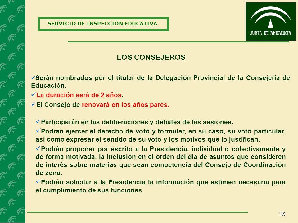 16 SERVICIO DE INSPECCIÓN EDUCATIVA LOS CONSEJEROS Serán nombrados por el titular de la Delegación Provincial de la Consejería de Educación.