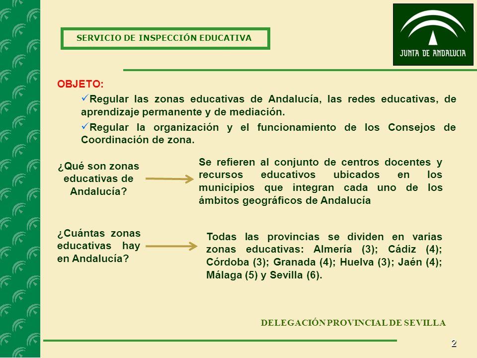 2 SERVICIO DE INSPECCIÓN EDUCATIVA DELEGACIÓN PROVINCIAL DE SEVILLA OBJETO: Regular las zonas educativas de Andalucía, las redes educativas, de aprendizaje permanente y de mediación.