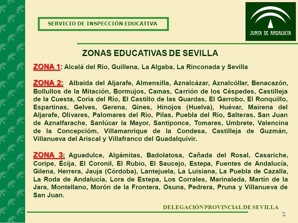 3 SERVICIO DE INSPECCIÓN EDUCATIVA DELEGACIÓN PROVINCIAL DE SEVILLA ZONAS EDUCATIVAS DE SEVILLA ZONA 2: ZONA 2: Albaida del Aljarafe, Almensilla, Aznalcázar, Aznalcóllar, Benacazón, Bollullos de la Mitación, Bormujos, Camas, Carrión de los Céspedes, Castilleja de la Cuesta, Coria del Río, El Castillo de las Guardas, El Garrobo, El Ronquillo, Espartinas, Gelves, Gerena, Gines, Hinojos (Huelva), Huévar, Mairena del Aljarafe, Olivares, Palomares del Río, Pilas, Puebla del Río, Salteras, San Juan de Aznalfarache, Sanlúcar la Mayor, Santiponce, Tomares, Umbrete, Valencina de la Concepcióm, Villamanrique de la Condesa, Castilleja de Guzmán, Villanueva del Ariscal y Villafranco del Guadalquivir.