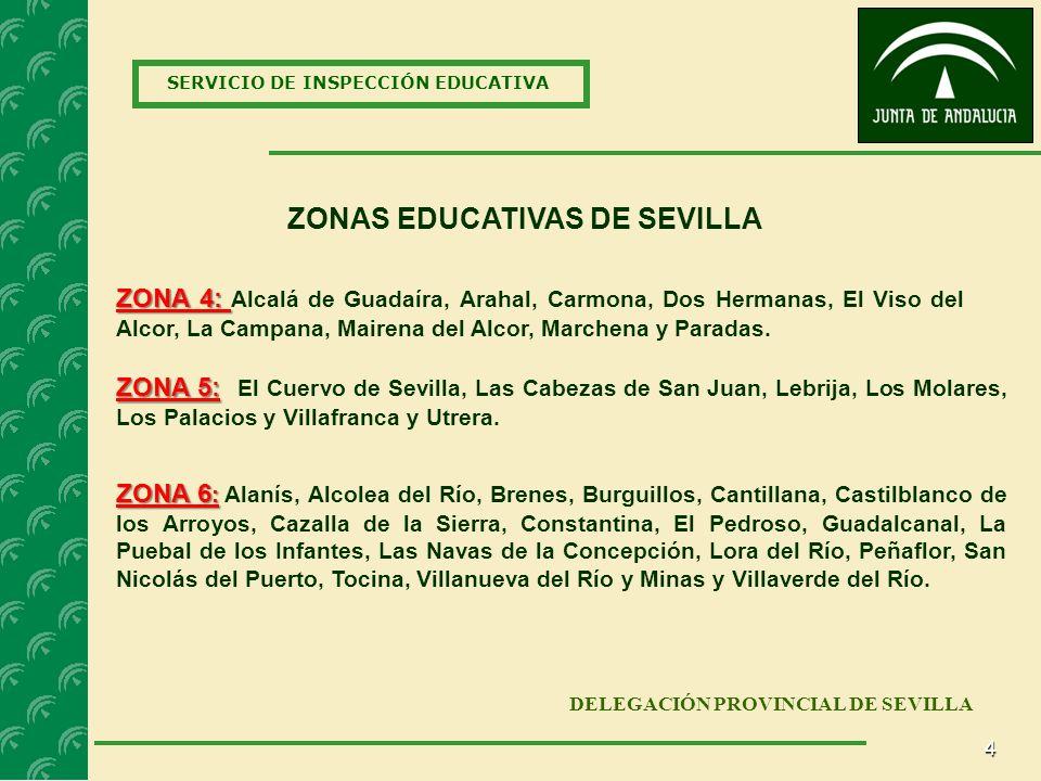4 SERVICIO DE INSPECCIÓN EDUCATIVA DELEGACIÓN PROVINCIAL DE SEVILLA ZONAS EDUCATIVAS DE SEVILLA ZONA 5: ZONA 5: El Cuervo de Sevilla, Las Cabezas de San Juan, Lebrija, Los Molares, Los Palacios y Villafranca y Utrera.