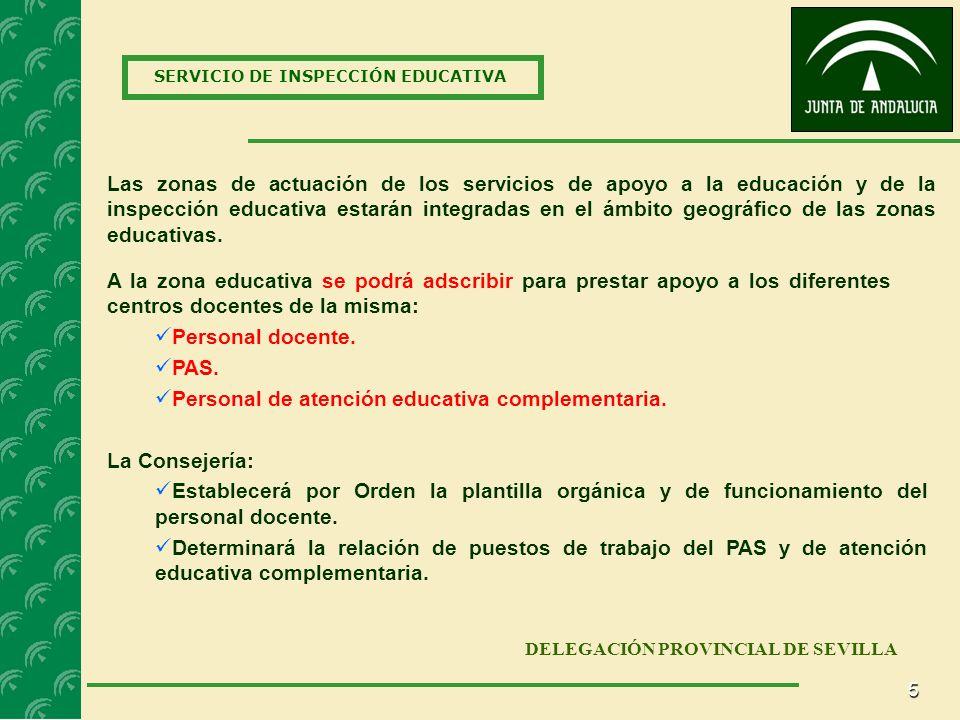 5 SERVICIO DE INSPECCIÓN EDUCATIVA DELEGACIÓN PROVINCIAL DE SEVILLA Las zonas de actuación de los servicios de apoyo a la educación y de la inspección educativa estarán integradas en el ámbito geográfico de las zonas educativas.