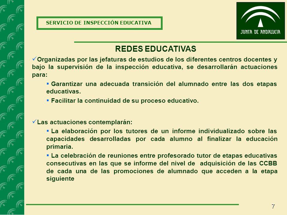7 SERVICIO DE INSPECCIÓN EDUCATIVA REDES EDUCATIVAS Las actuaciones contemplarán: La elaboración por los tutores de un informe individualizado sobre las capacidades desarrolladas por cada alumno al finalizar la educación primaria.