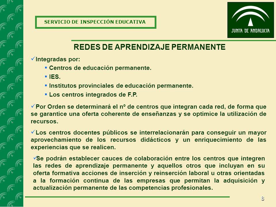 8 SERVICIO DE INSPECCIÓN EDUCATIVA REDES DE APRENDIZAJE PERMANENTE Los centros docentes públicos se interrelacionarán para conseguir un mayor aprovechamiento de los recursos didácticos y un enriquecimiento de las experiencias que se realicen.