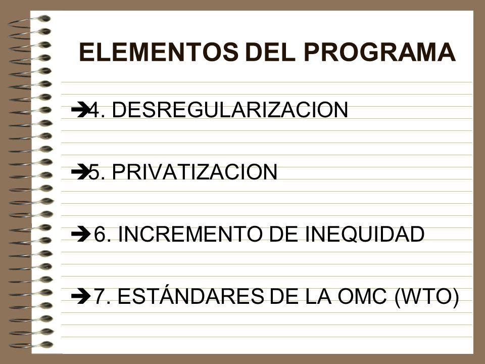 ELEMENTOS DEL PROGRAMA 4. DESREGULARIZACION 5. PRIVATIZACION 6. INCREMENTO DE INEQUIDAD 7. ESTÁNDARES DE LA OMC (WTO)