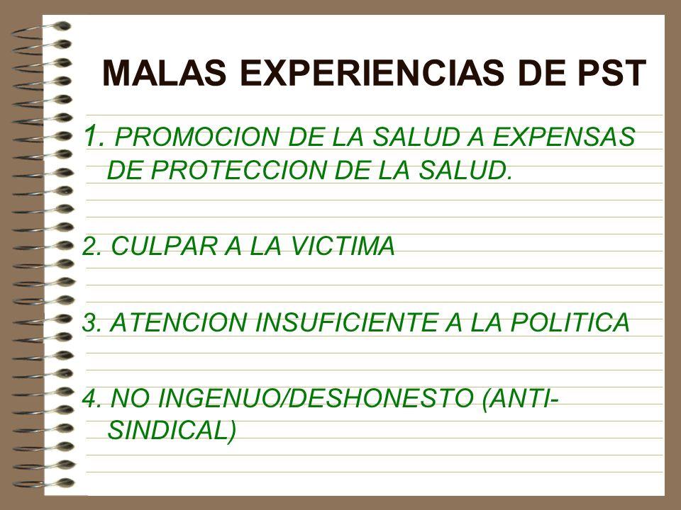 MALAS EXPERIENCIAS DE PST 1. PROMOCION DE LA SALUD A EXPENSAS DE PROTECCION DE LA SALUD. 2. CULPAR A LA VICTIMA 3. ATENCION INSUFICIENTE A LA POLITICA