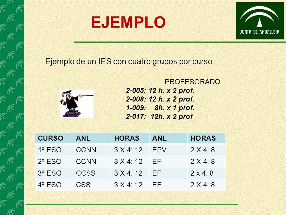EJEMPLO Ejemplo de un IES con cuatro grupos por curso: CURSOANLHORASANLHORAS 1º ESOCCNN3 X 4: 12EPV2 X 4: 8 2º ESOCCNN3 X 4: 12EF2 X 4: 8 3º ESOCCSS3 X 4: 12EF2 x 4: 8 4º ESOCSS3 X 4: 12EF2 X 4: 8 PROFESORADO 2-005: 12 h.
