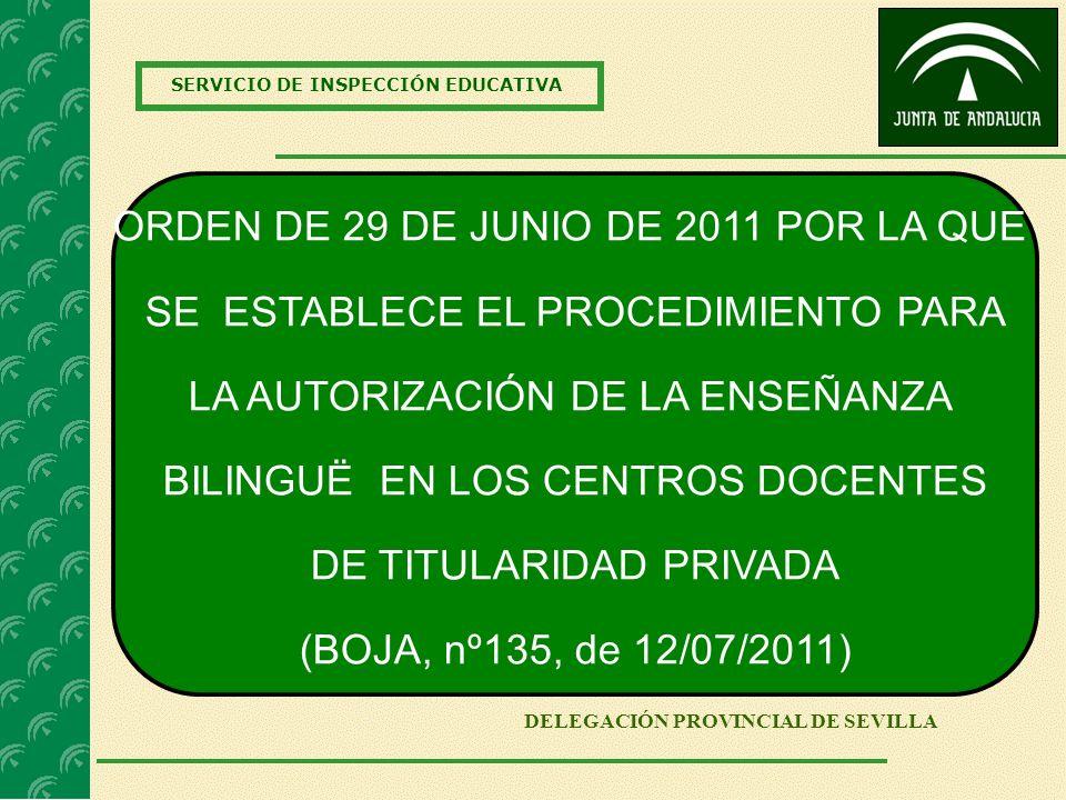 SERVICIO DE INSPECCIÓN EDUCATIVA DELEGACIÓN PROVINCIAL DE SEVILLA ORDEN DE 29 DE JUNIO DE 2011 POR LA QUE SE ESTABLECE EL PROCEDIMIENTO PARA LA AUTORI