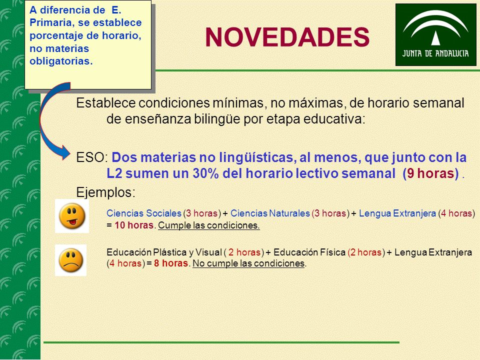 NOVEDADES Establece condiciones mínimas, no máximas, de horario semanal de enseñanza bilingüe por etapa educativa: ESO: Dos materias no lingüísticas, al menos, que junto con la L2 sumen un 30% del horario lectivo semanal (9 horas).